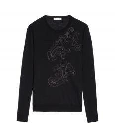 EMBROIDERED PAISLEY C-NECK JUMPER