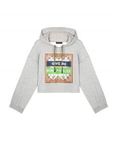 COTTON SWEATSHIRT WITH PRINTED WRITING AND HOOD