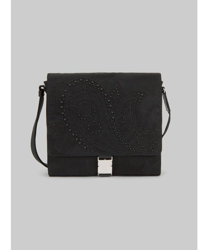 JACQUARD MESSENGER BAG WITH EMBROIDERY