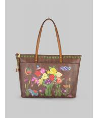 PAISLEY AND FLOWER PRINT TOTE BAG