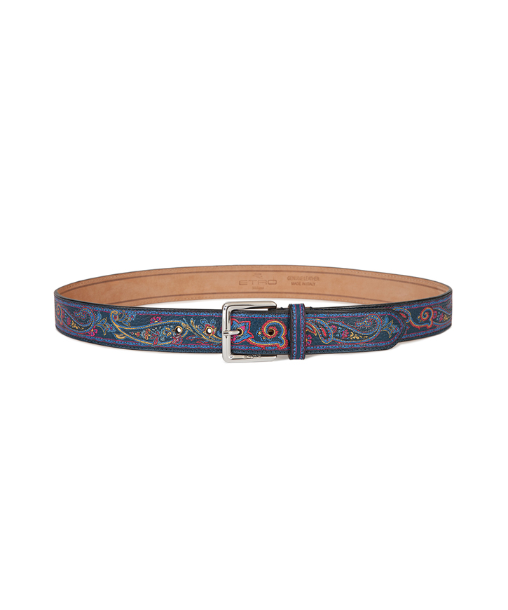 MULTICOLORED PAISLEY LEATHER BELT