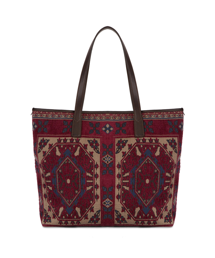 JACQUARD TOTE BAG WITH CARPET EMBROIDERY