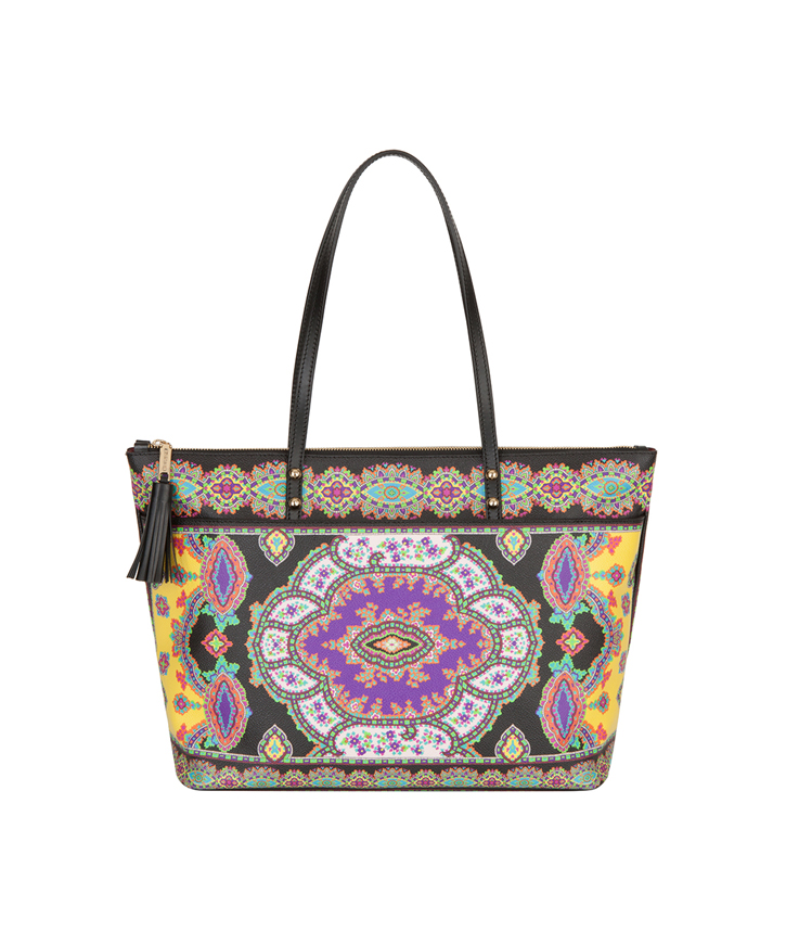 PAISLEY KNOT TOTE BAG WITH MULTICOLOR PRINT