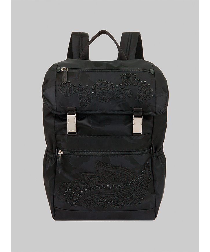 JACQUARD BACKPACK WITH EMBROIDERY
