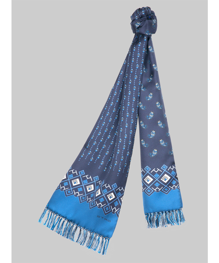 PAISLEY AND GEOMETRIC-PRINT SCARF